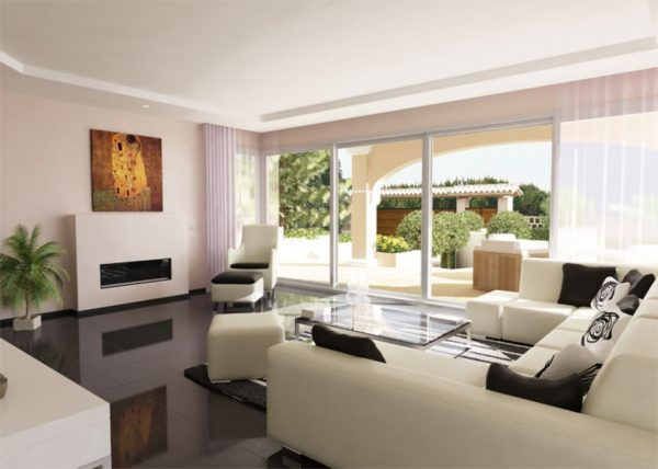 living room with an open view