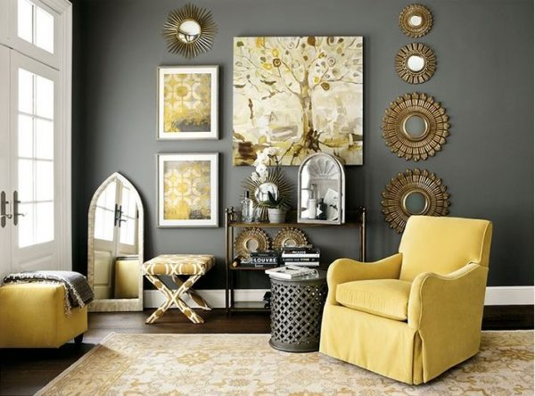 Superbe Gray And Yellow Living Room