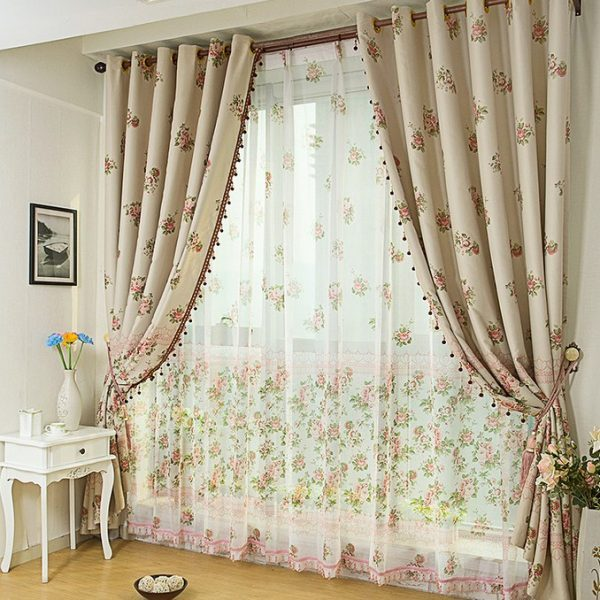 Country-Style-Ivory-Curtains-with-Flower-Printed