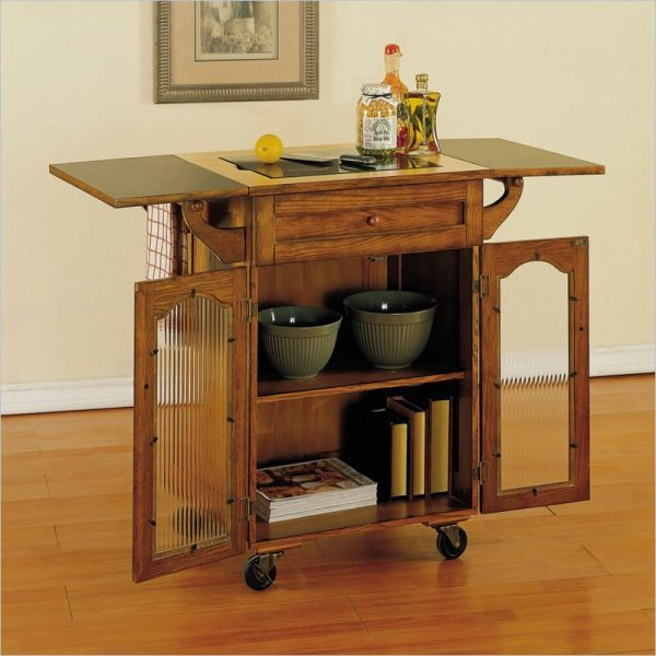 amazing-powell-noble-oak-kitchen-cart-kitchen-island 1