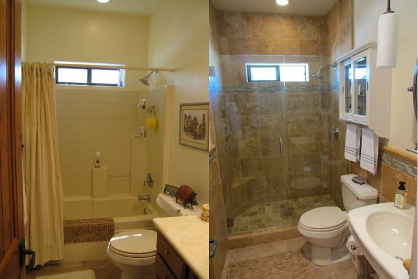 Bath remodel ideas little piece of me - Before and after small bathroom remodels ...