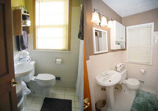 Bath remodel ideas little piece of me Cheap bathroom remodel before and after