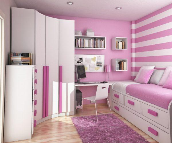 teen-girl-bedroom-design-ideas-with-pink-stripe-paint-on-the-wall8