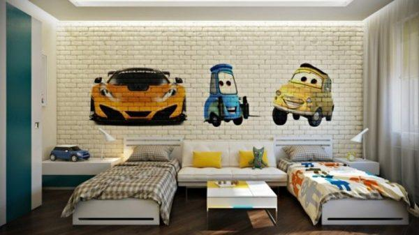 Cars-Inspired-Bedroom-with-Brick-Walls