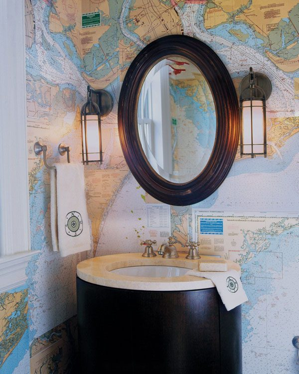 world map bathroom decor