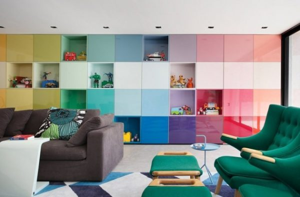 multi colored living room