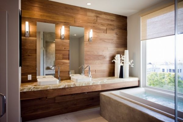 Laminate flooring on walls for a warm and luxurious feel - Laminate tiles for bathroom walls ...