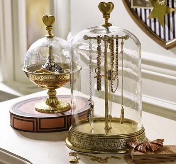 glass cloche jewelry storage