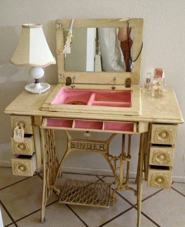repurposed sewing machine cabinets