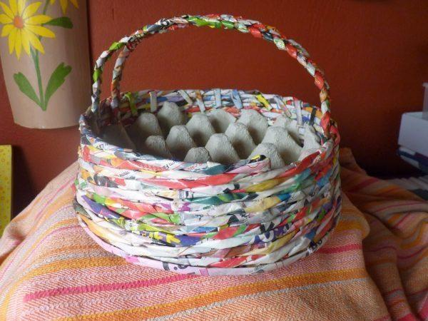 recycled newspaper basket
