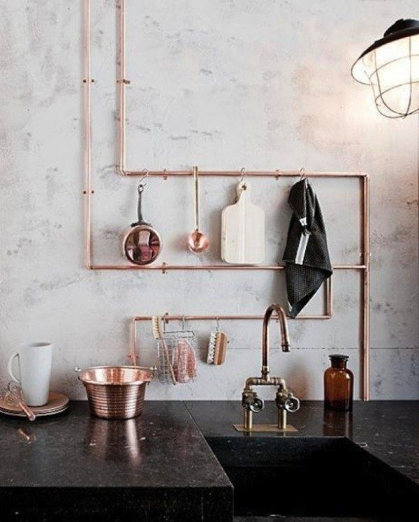 copper decor for kitchen