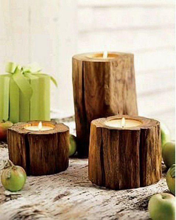 tree stump candles