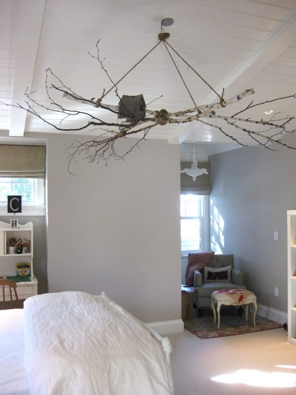 how to make a branch chandelier