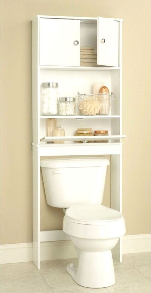 Small bathroom design ideas bathroom storage over the toilet little piece of me for Bathroom shelving ideas for small spaces