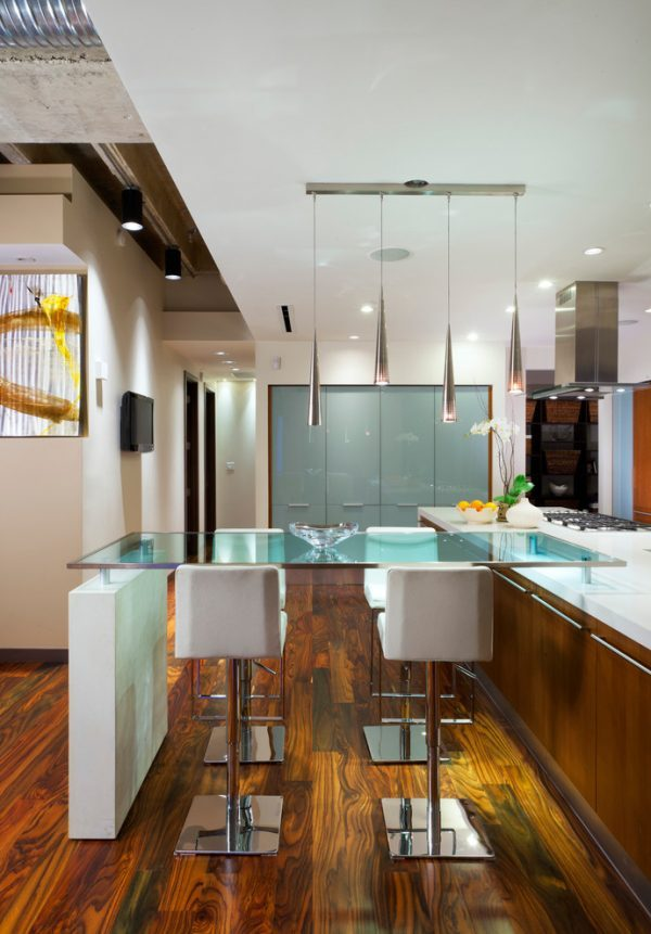 Glass tables for stylish kitchen
