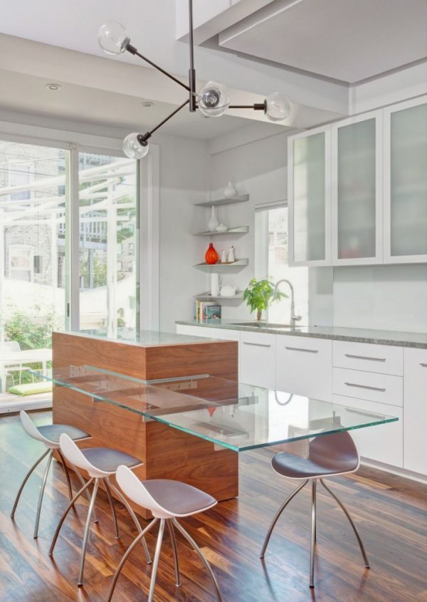 small glass kitchen table