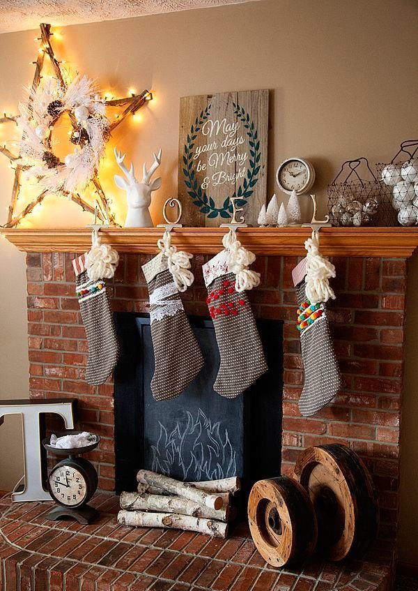 fireplace mantels christmas decor ideas