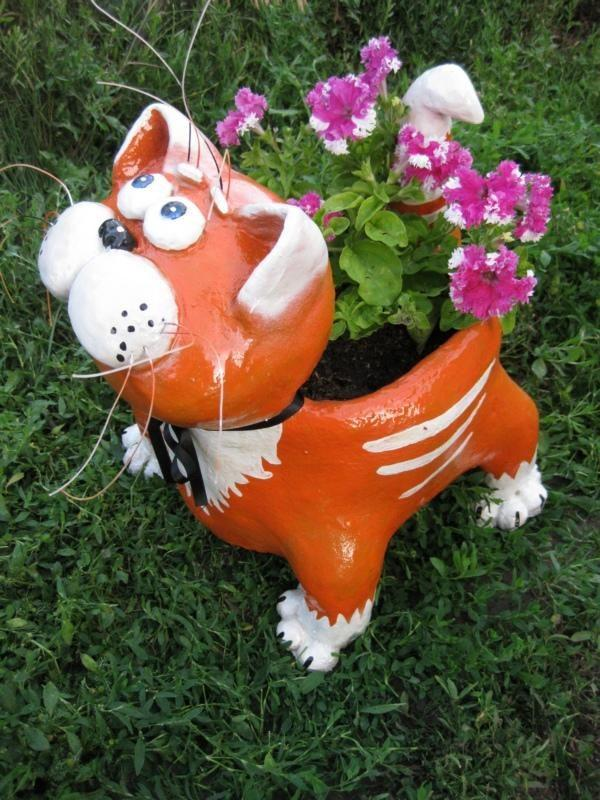 cat flower pot