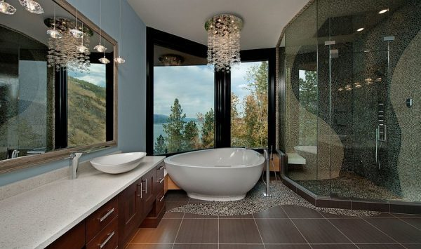 Chandelier in bathroom for luxury interior design