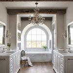 Chandelier in bathroom for luxury interior design