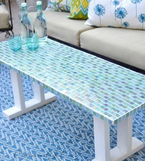 Blue Mosaic Outdoor Coffee Table