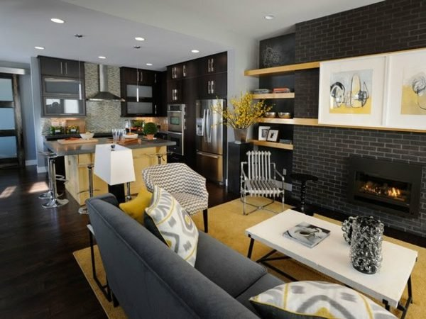 combined kitchen and living room designs