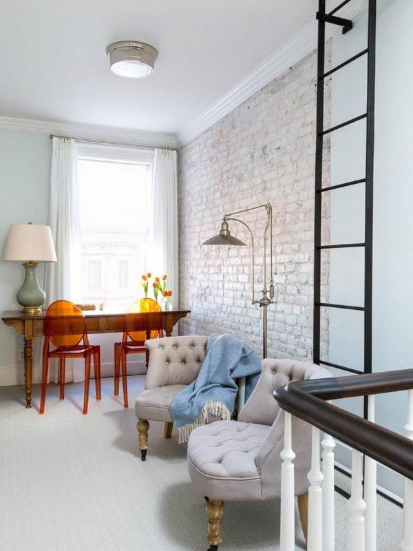 interior white brick wall