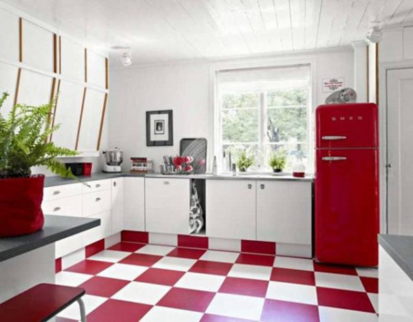 red retro fridge freezer