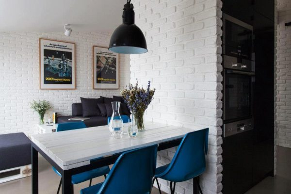 white brick kitchen