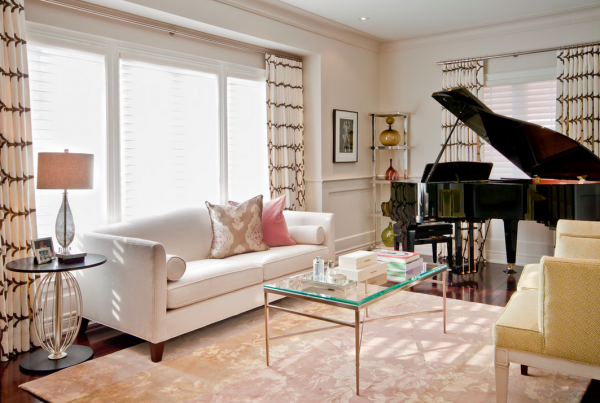 grand piano in small living room