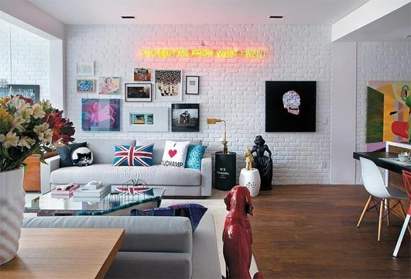 white exposed brick wall