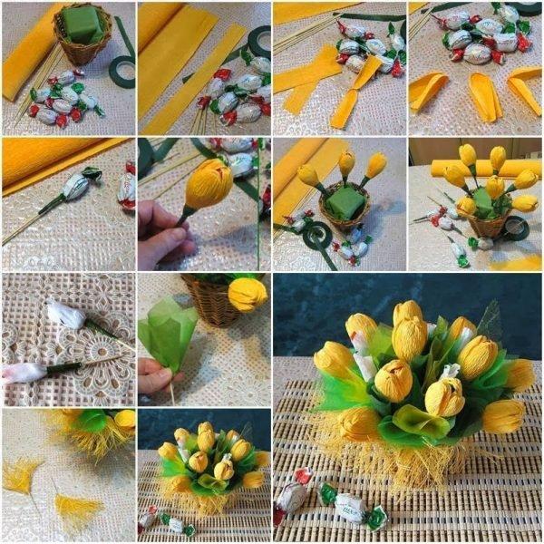 Как делать цветы из конфет