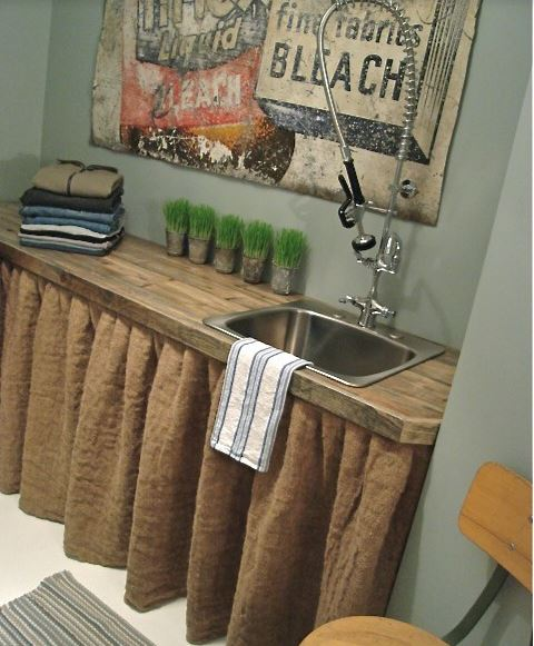 burlap kitchen decor