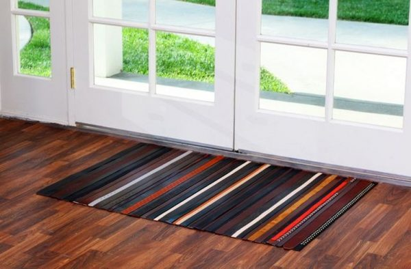 recycled leather rug