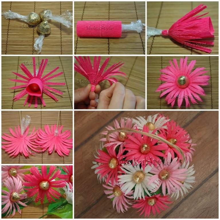 Как сделать цветок из гофробумаги