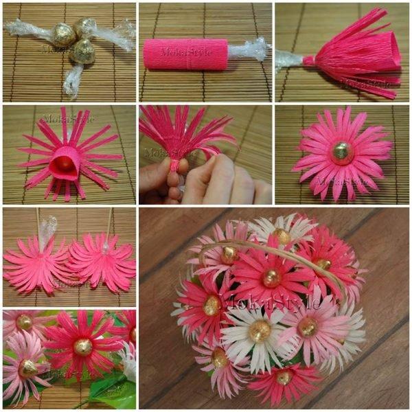 Цветы из конфет с гофрированной бумаги