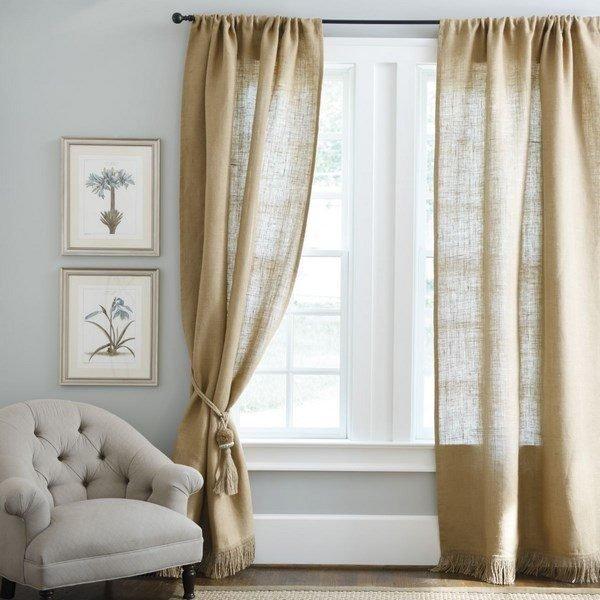 burlap drapes