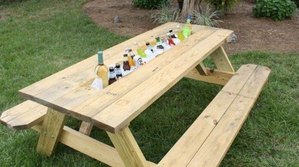 wooden outdoor drink cooler