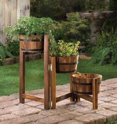 Wooden flowerpots