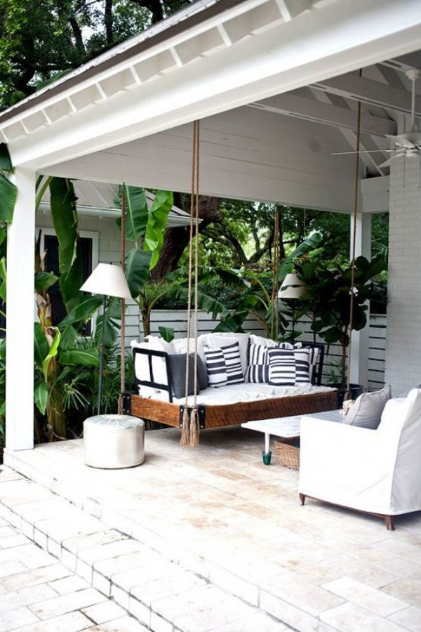 Wooden swing for the porch