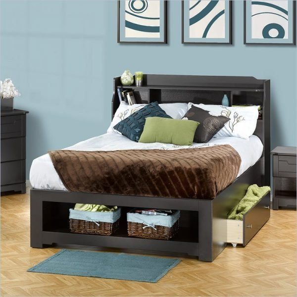 Modern bed with storage drawers