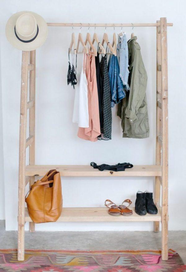 wooden coat rack stand