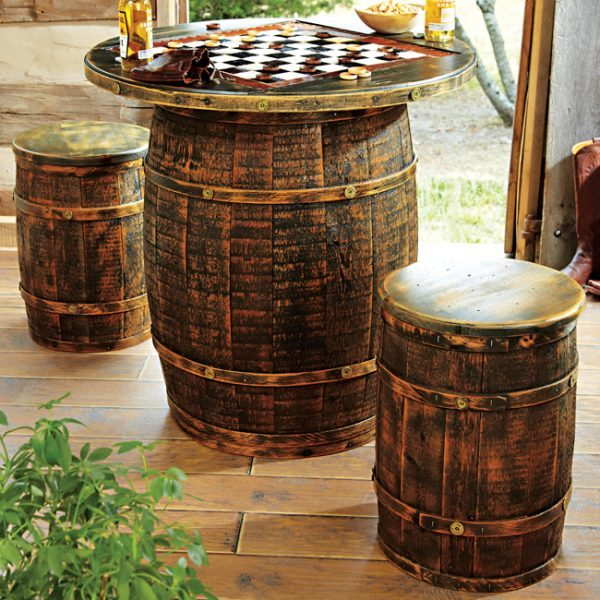 outdoor wine barrel furniture