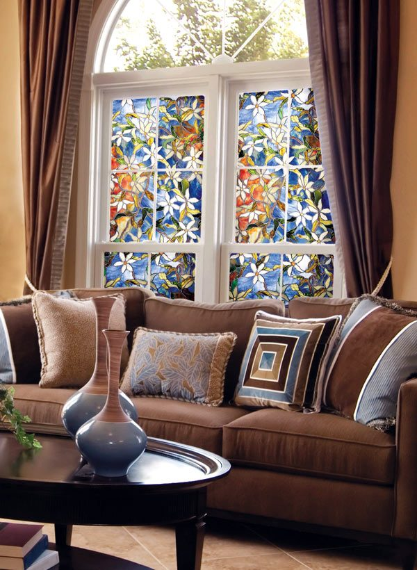 stained glass window covering