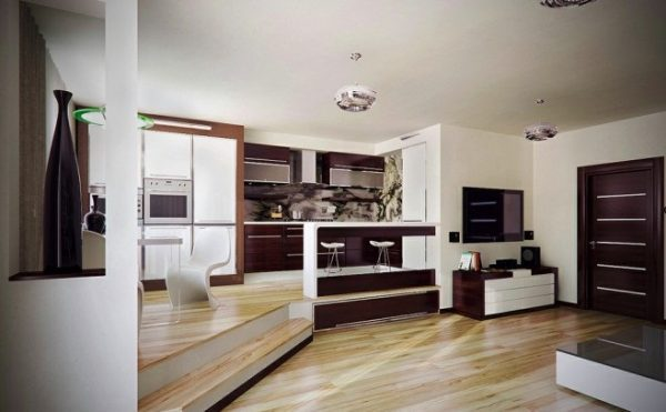 Dual-Floor-Level-Wooden-Floor-Brown-Door-Browm-Kitchen-Cabinet