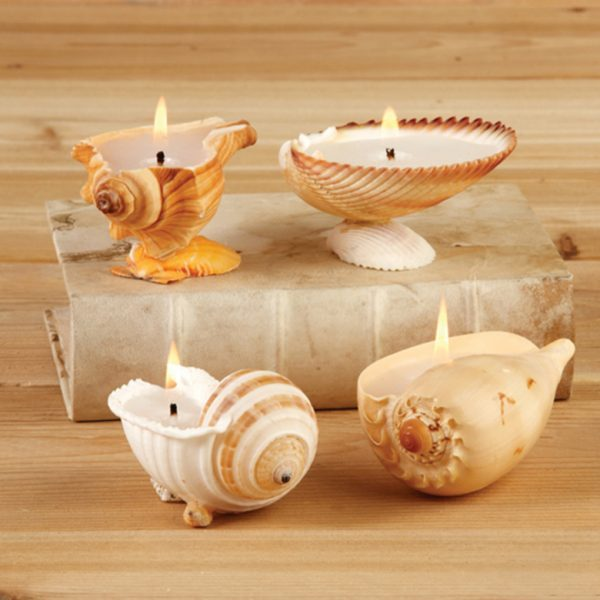 candles with seashells