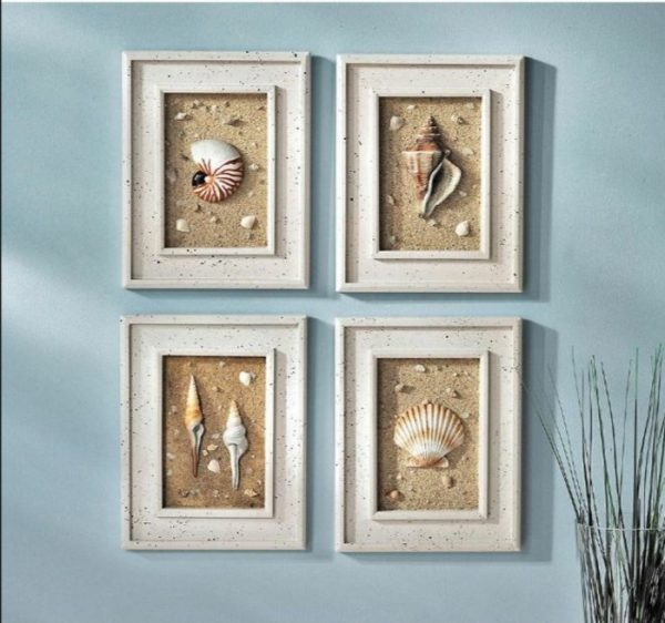 seashell bathroom wall decor