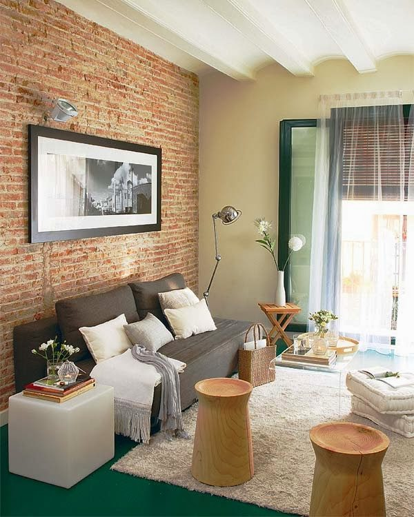 Back Wall Living Room With Brick Decor Ideas
