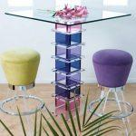Colorful glass bar tables for trendy home