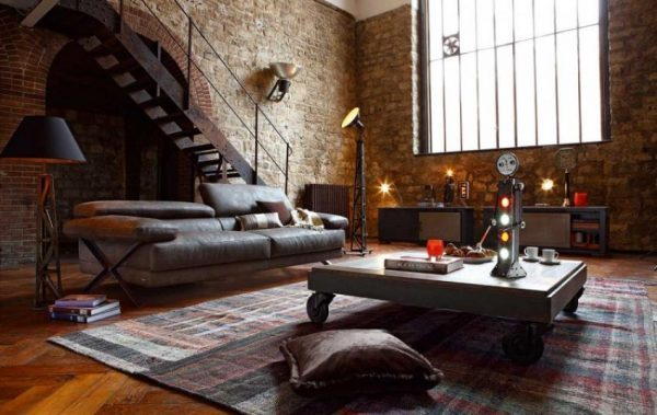 rustic-living-room-design-with-exposed-brick-wall